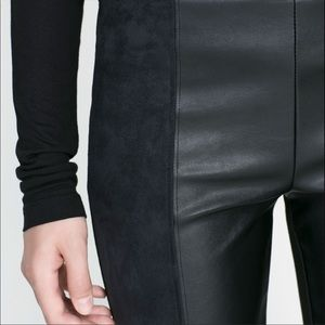Zara B&W Collection   Leather Suede Panel Leggings